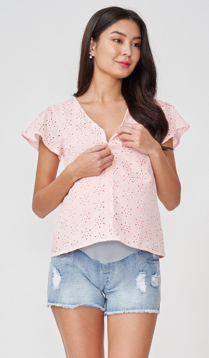 ANDES CROCHET NURSING TOP PINK