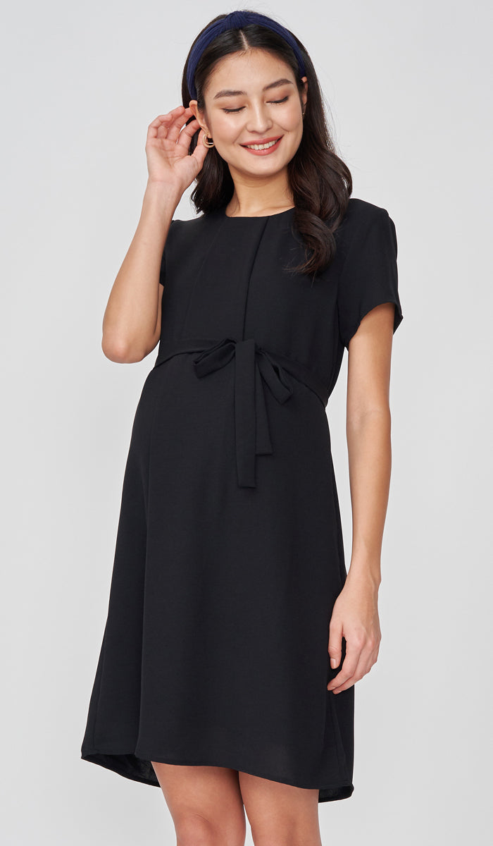 ANGIE NURSING SHIFT DRESS BLACK