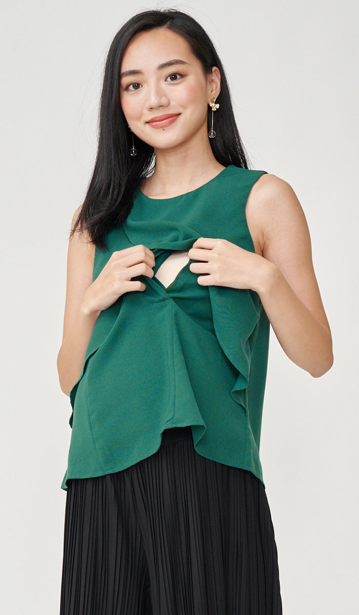 BETTI PETAL NURSING TOP GREEN