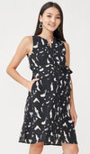 BIANCA ABSTRACT FRONT ZIP NURSING DRESS BLACK