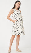 BIANCA ABSTRACT FRONT ZIP NURSING DRESS CREAM