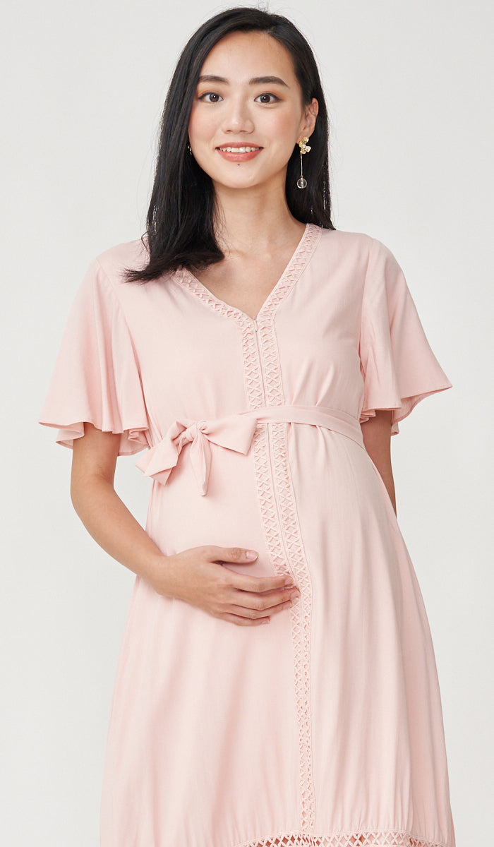 CAROLLE CROCHET TRIM NURSING DRESS PINK