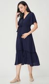 CAROLLE CROCHET TRIM NURSING DRESS NAVY