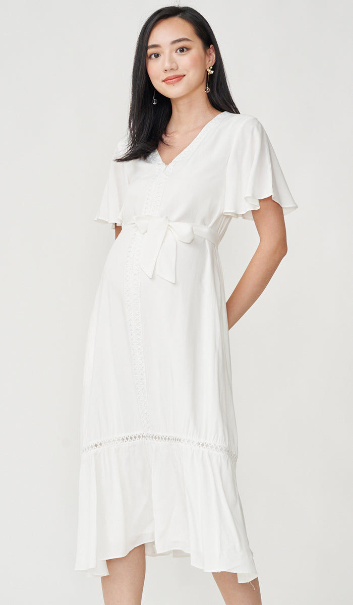 CAROLLE CROCHET TRIM NURSING DRESS WHITE