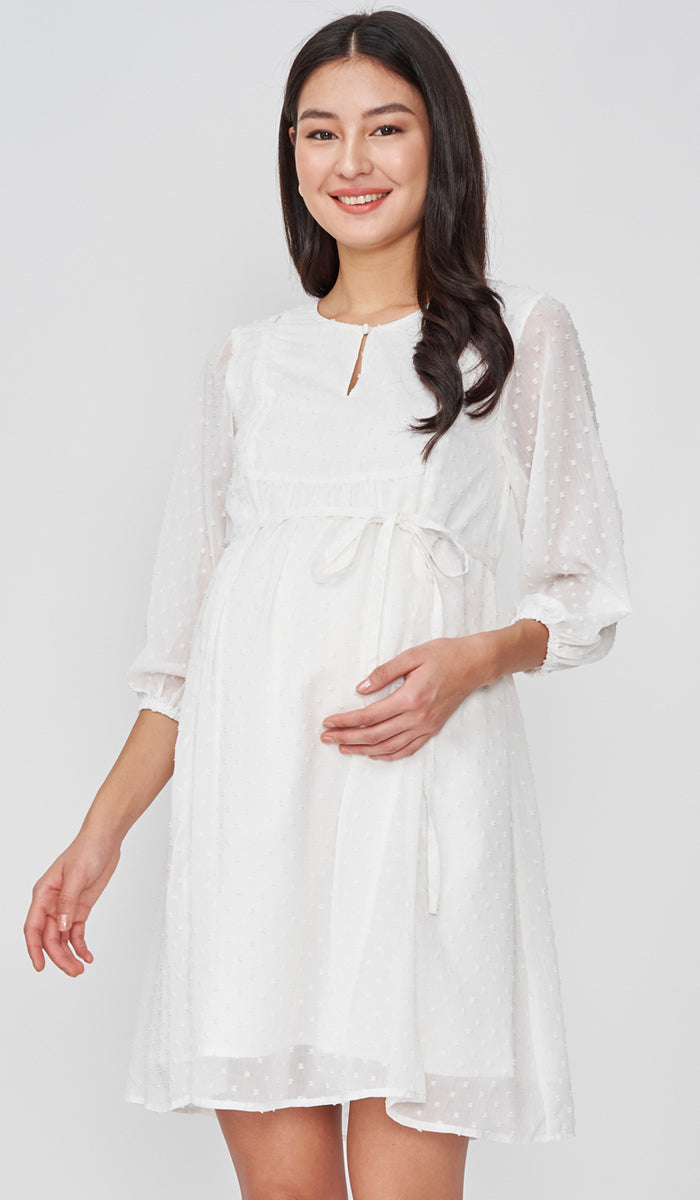 CHLOE DOT TEXTURED NURSING DRESS WHITE