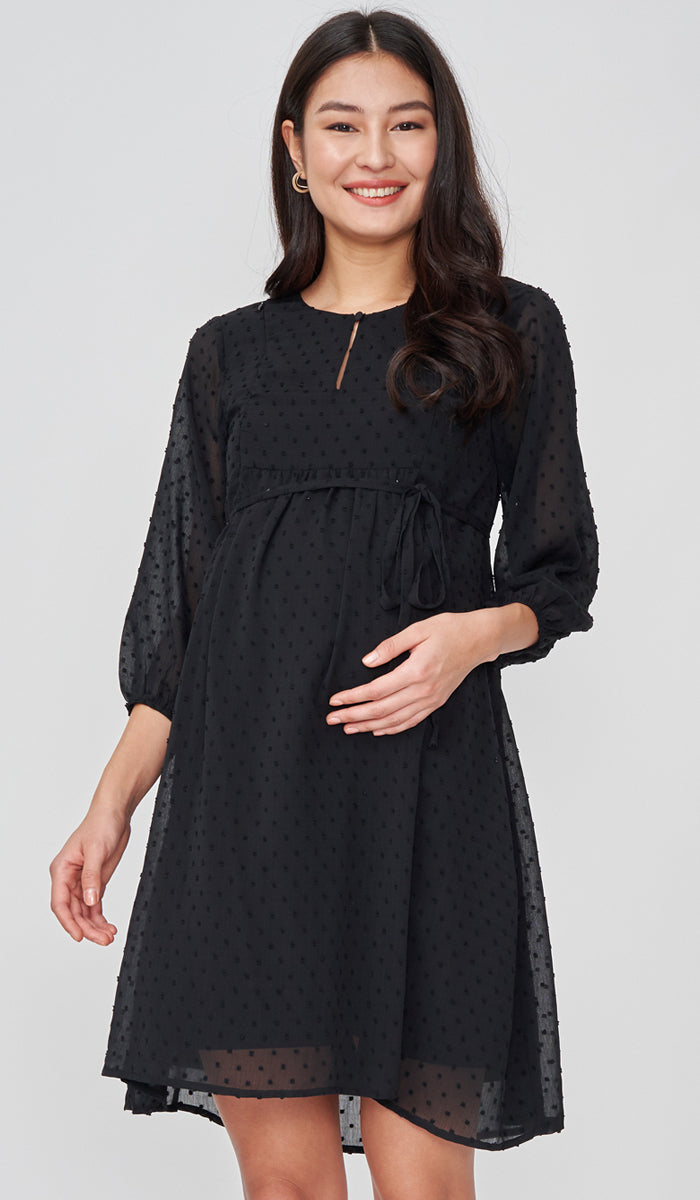 CHLOE DOT TEXTURED NURSING DRESS BLACK