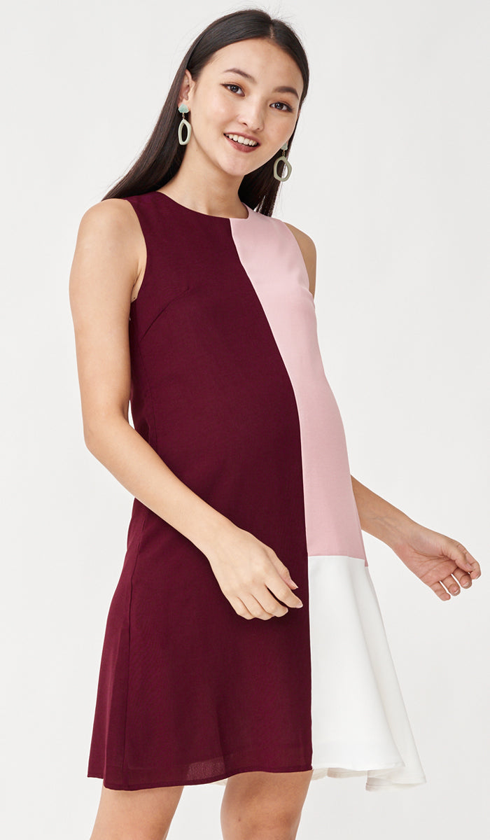 CLARA COLORBLOCK NURSING DRESS RED
