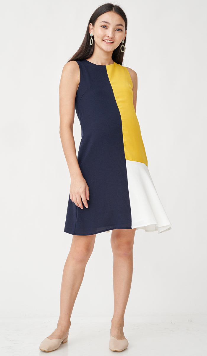 CLARA COLORBLOCK NURSING DRESS NAVY