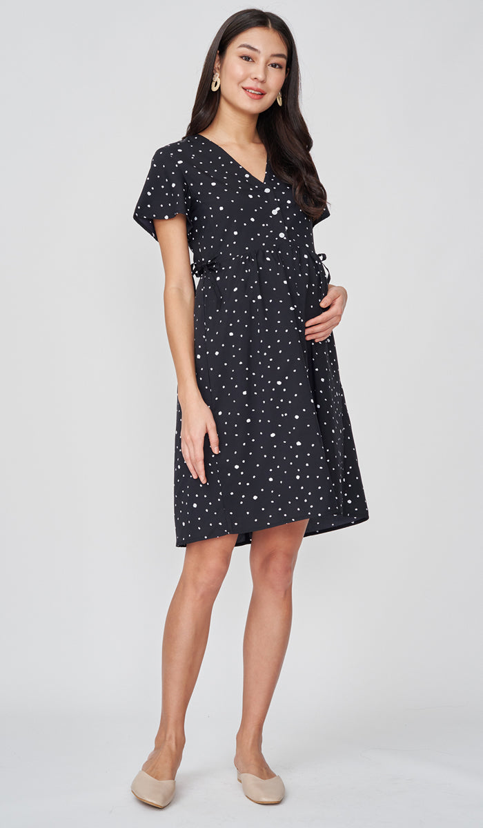 DION NURSING DRESS POLKADOT BLACK