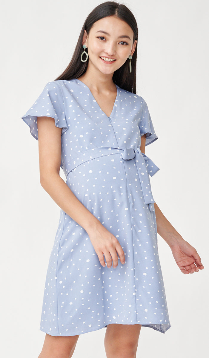 DOTTIE FRONT ZIP DRESS BLUE W SASH