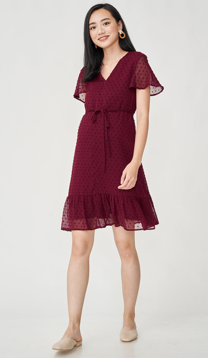 EIRA DOT TEXTURED NURSING DRESS RED