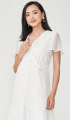 EIRA DOT TEXTURED NURSING DRESS WHITE