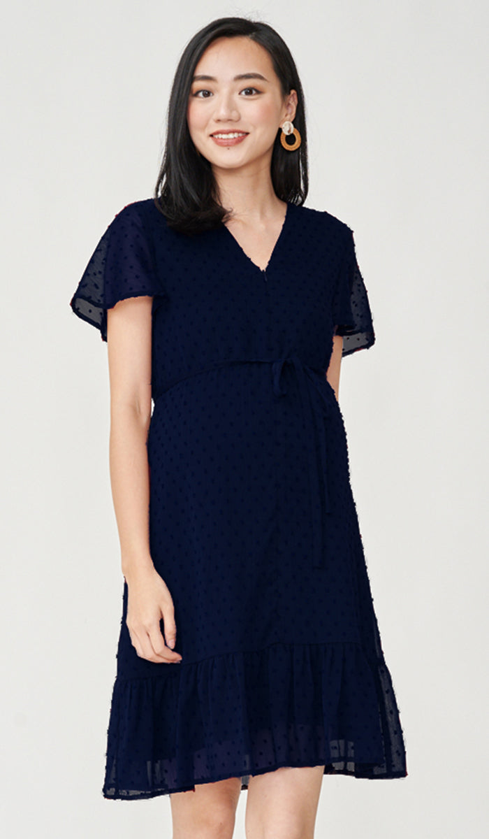 EIRA DOT TEXTURED NURSING DRESS NAVY
