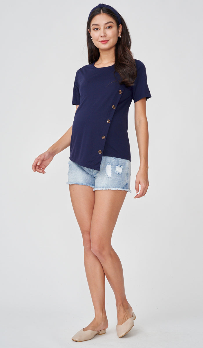 EMMA BUTTON DETAIL NURSING TOP NAVY