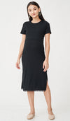 EVAN POMPOM NURSING DRESS BLACK