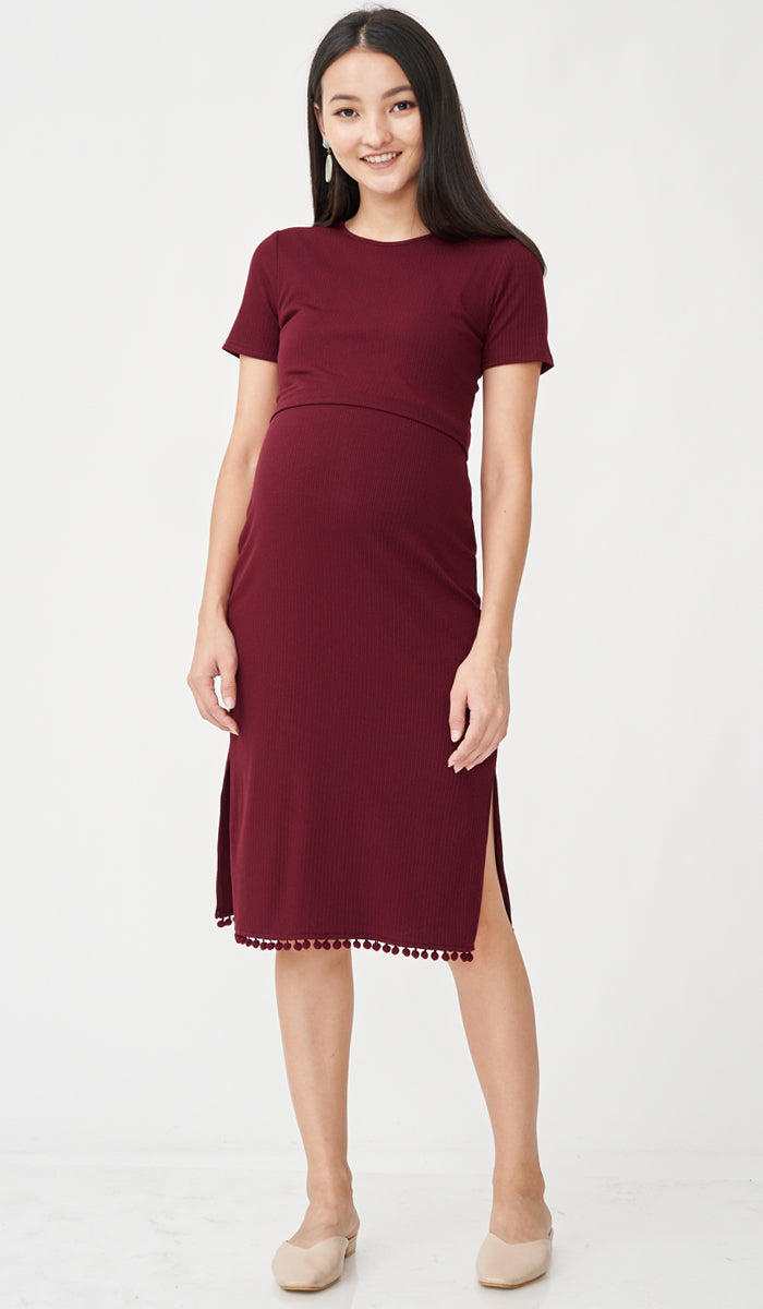 EVAN POMPOM NURSING DRESS RED
