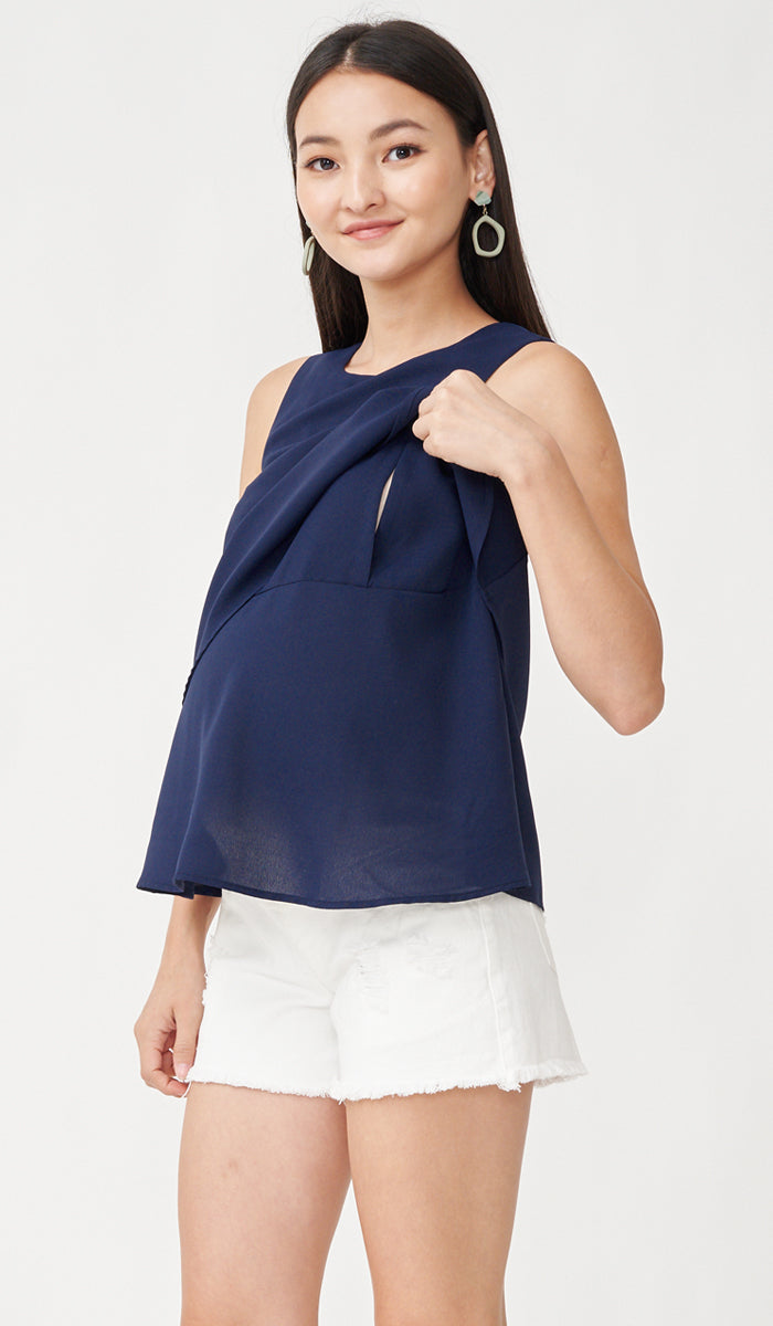FREY NURSING TOP NAVY