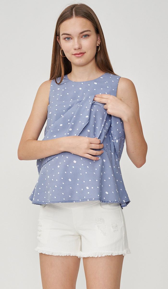 FREY NURSING TOP POLKADOT BLUE