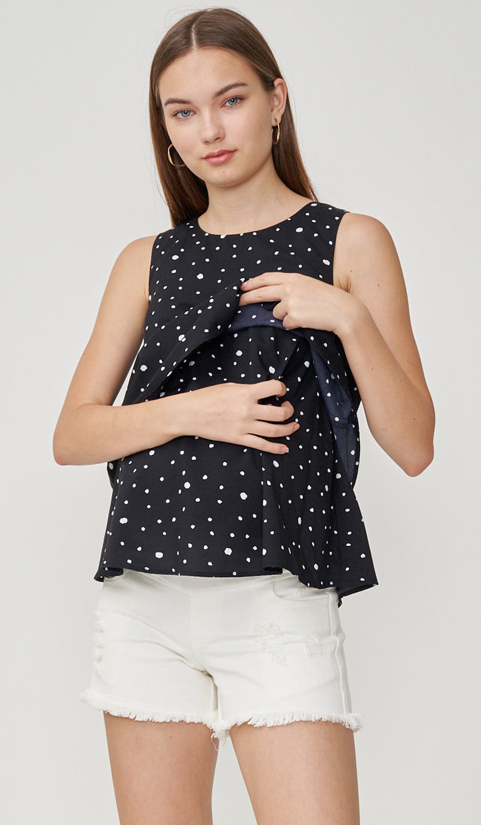 FREY NURSING TOP POLKADOT BLACK