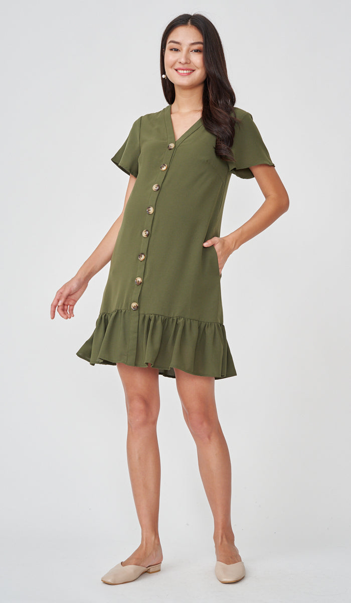 GEN BUTTONDOWN DRESS GREEN