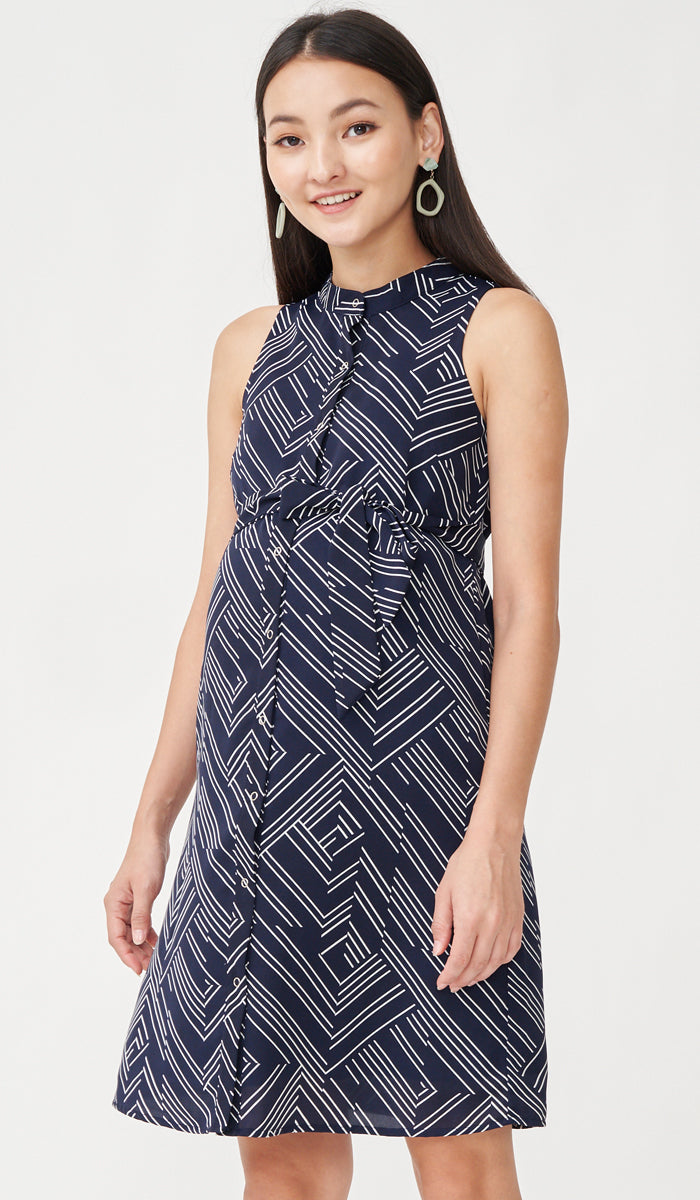 GEOMETRIC SHIRT DRESS NAVY W SASH
