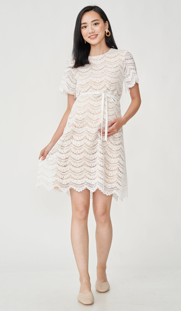 GLORIA LACE NURSING DRESS WHITE