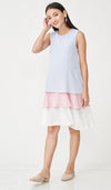 GRETA COLORBLOCK NURSING DRESS SKY BLUE