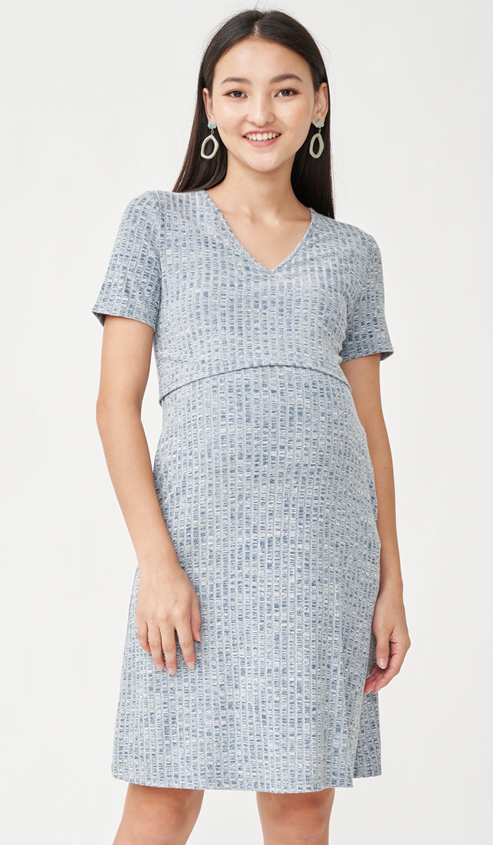 HAYLEY RIBBED NURSING DRESS BLUE W SASH