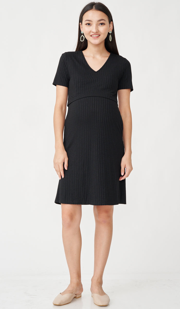 HAYLEY RIBBED NURSING DRESS BLACK W SASH