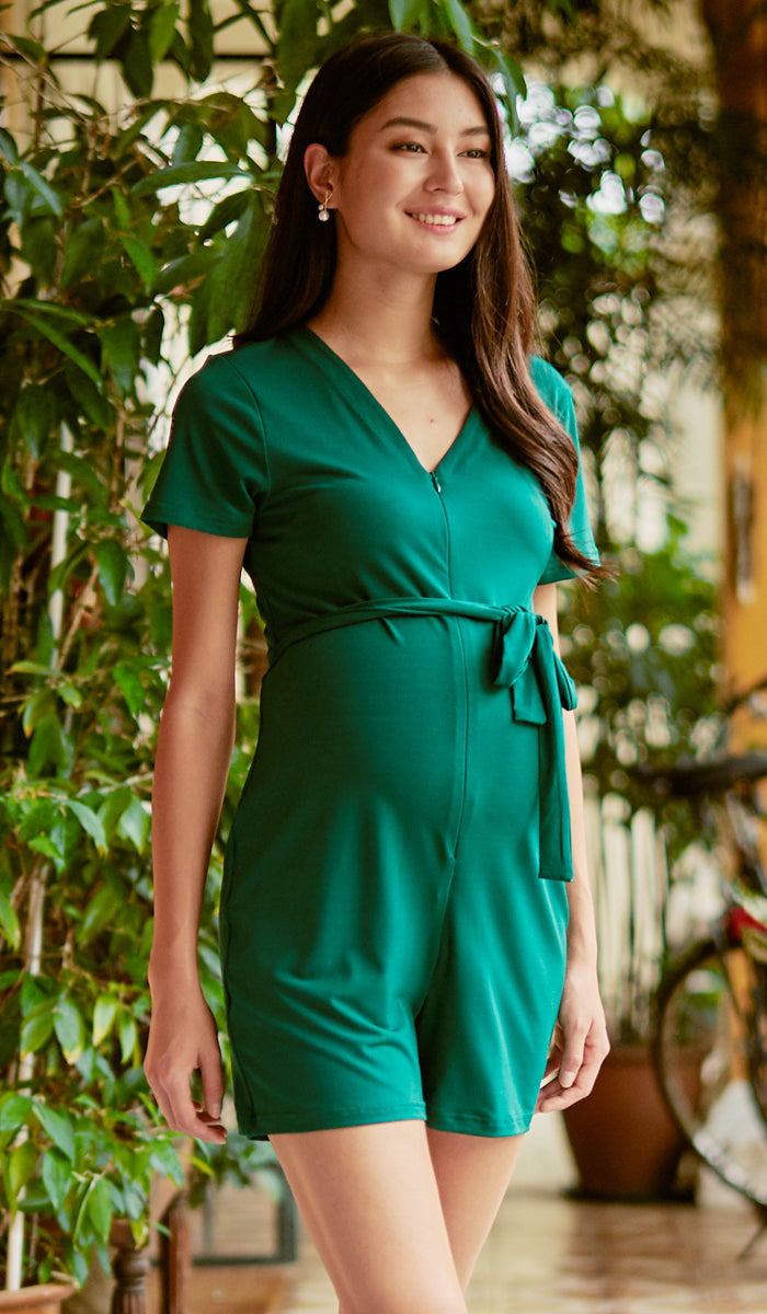 SALE - HEIDI NURSING ROMPER GREEN