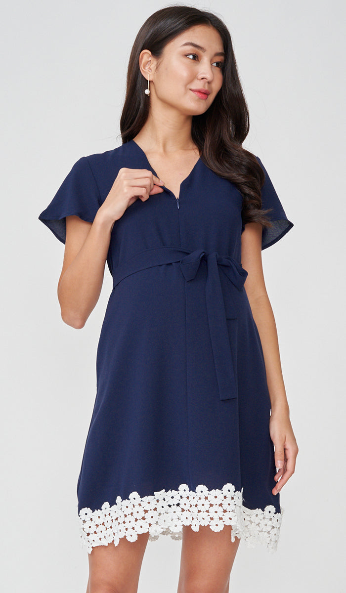 KASS CROCHET HEM NURSING DRESS NAVY