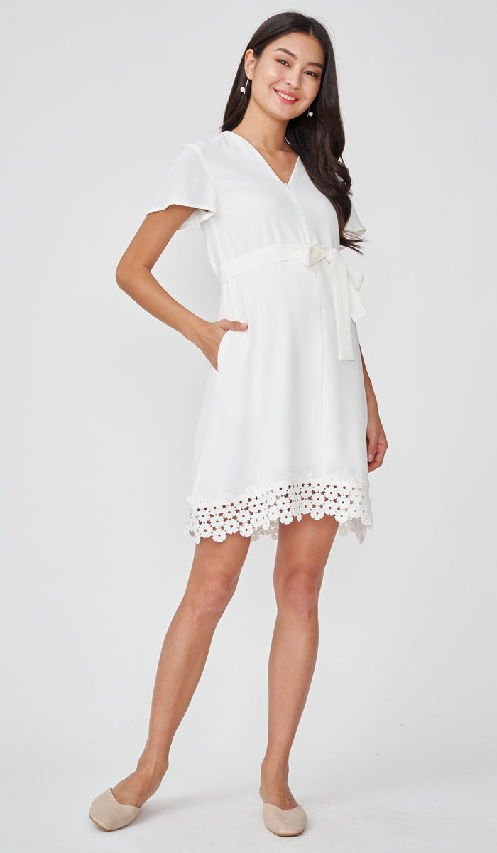 KASS CROCHET HEM NURSING DRESS WHITE
