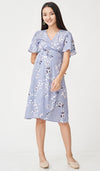 LAUREN FLORAL WRAP DRESS LILAC