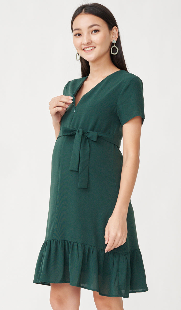 LILIE FRONT ZIP FLOUNCE DRESS GREEN