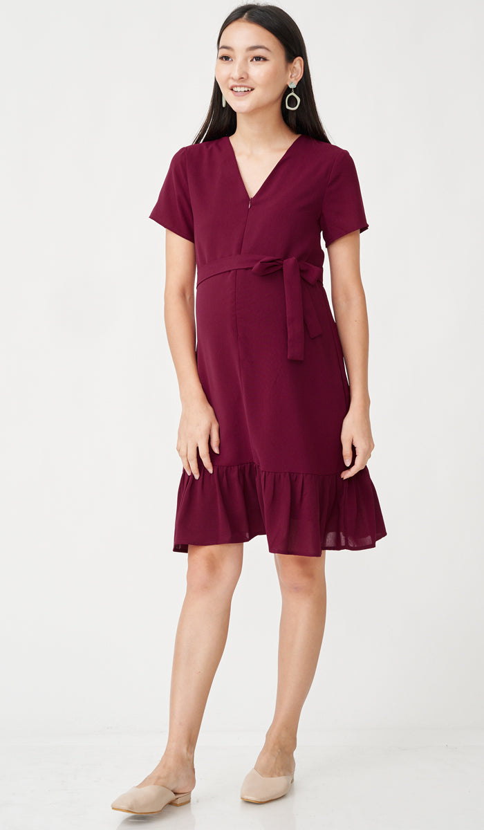LILIE FRONT ZIP FLOUNCE DRESS RED