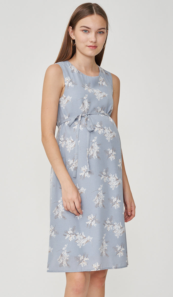 LINA FLORAL NURSING DRESS BLUE
