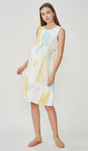 LINA ABSTRACT PRINT NURSING DRESS WHITE