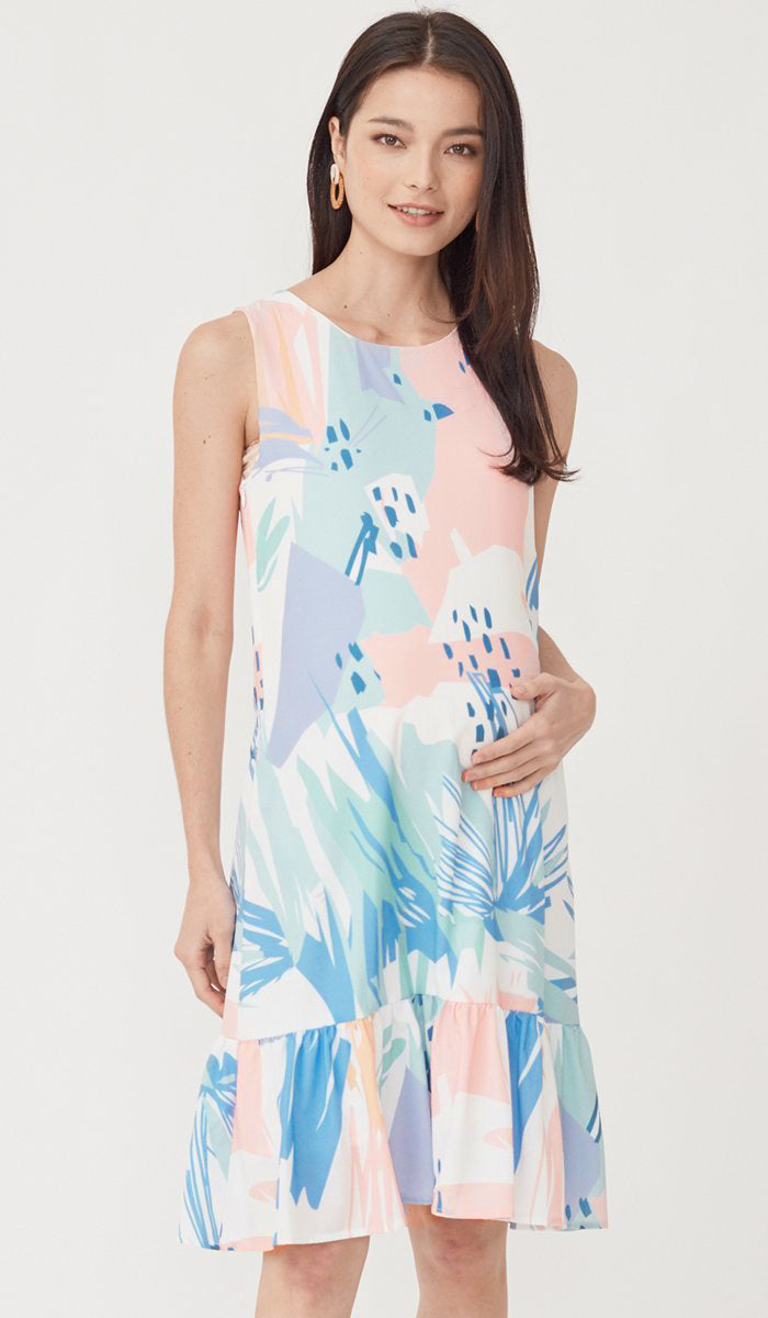 LOLA ABSTRACT NURSING DRESS