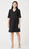 MADISON FOLDOVER NURSING DRESS BLACK