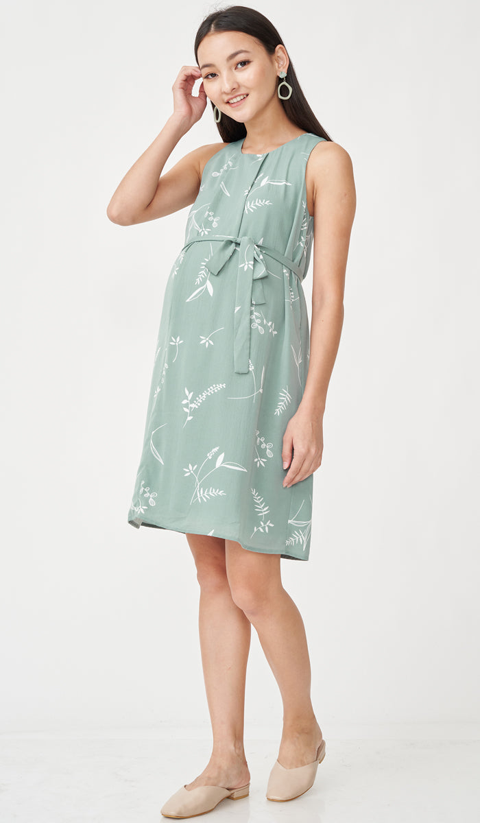 MALLORY FLORAL NURSING DRESS JADE