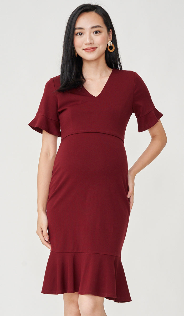 MIKA FLUTE SLEEVES NURSING DRESS WINE