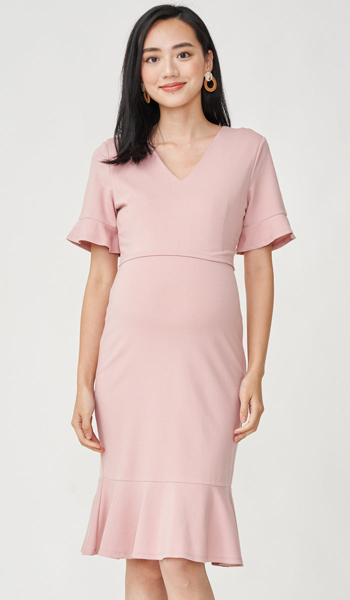 MIKA FLUTE SLEEVES NURSING DRESS PINK