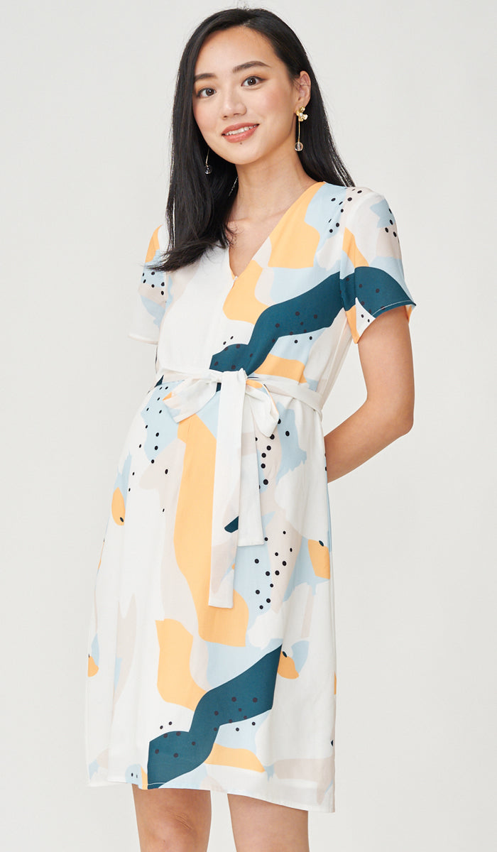 MILLY ABSTRACT PRINT NURSING DRESS WHITE