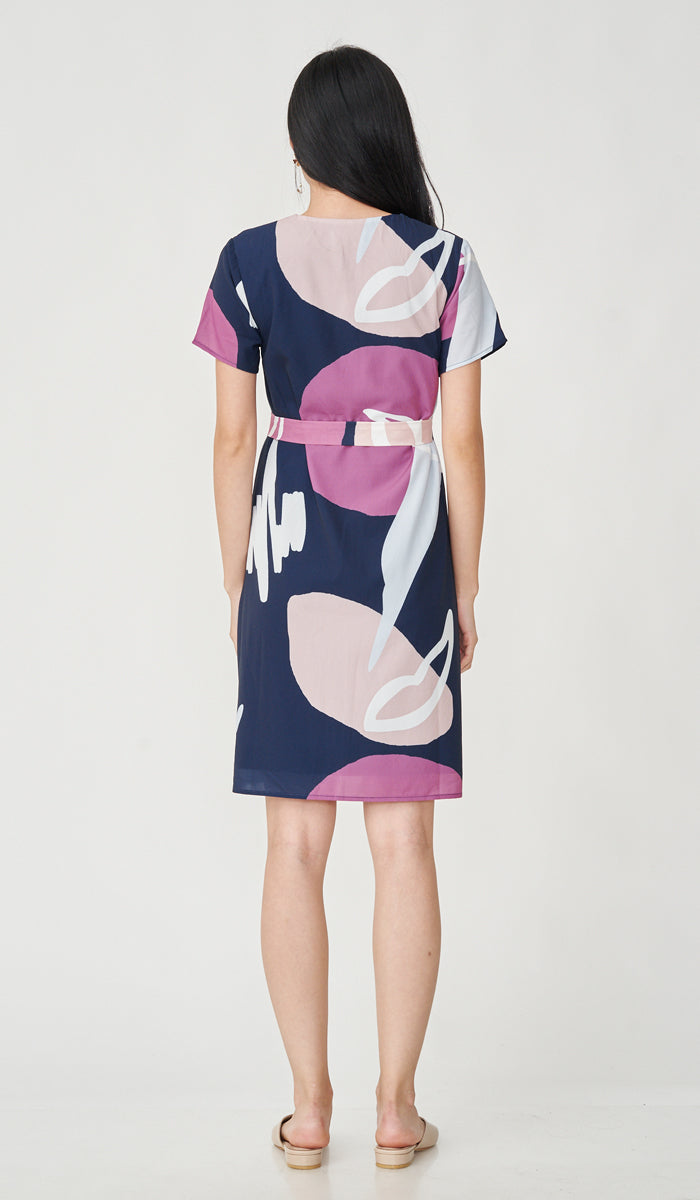 MILLY ABSTRACT PRINT NURSING DRESS NAVY