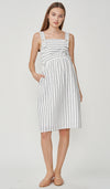 NAUTICAL STRIPES 2-WAY NURSING DRESS WHITE