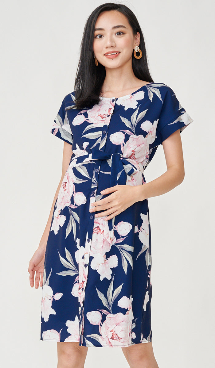 NEVA FLORAL BUTTONDOWN DRESS NAVY