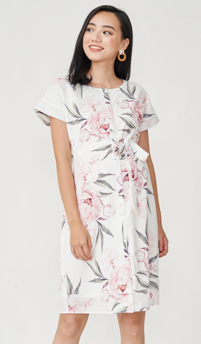 NEVA FLORAL BUTTONDOWN DRESS WHITE