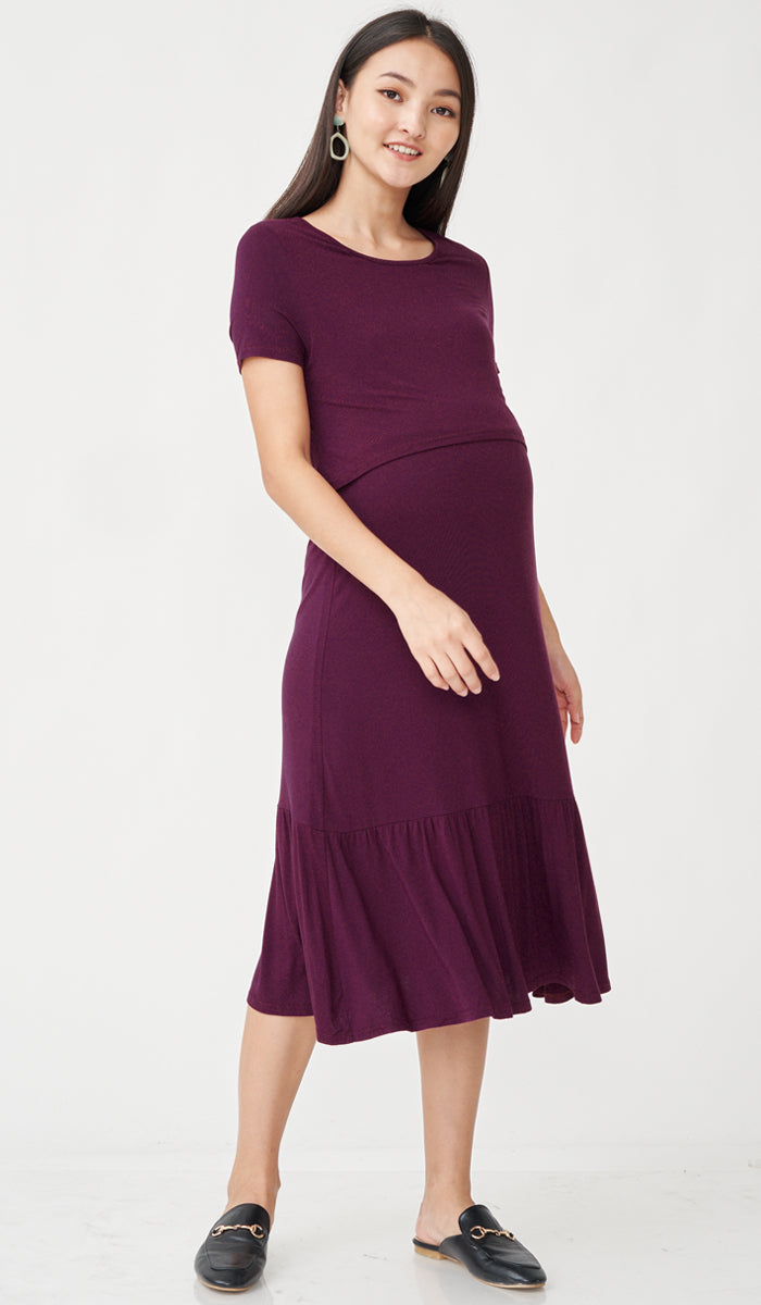 SALE - NORAH MIDI NURSING DRESS PLUM