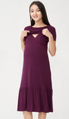 NORAH MIDI NURSING DRESS PLUM