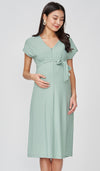 ODELIA FRONT ZIP NURSING DRESS SEAFOAM
